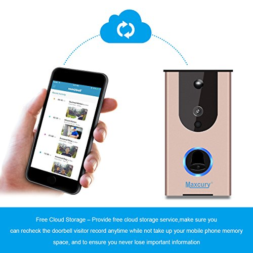 Door Viewer Smart Wi-Fi Video Doorbell in Rose Gold Waterproof IP65, iOS & Android APP, IR Night Vision, Cloud Storage, Support Tamper Alarm [CE FCC RoHS]Certification by MAXCURY (Image #1)