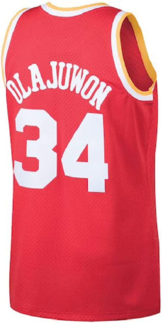 S-XXL Litmey Olajuwon Jersey Mens 34 Jerseys Hakeem Basketball Jersey Red