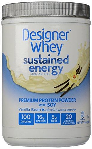 DESIGNER WHEY énergie soutenue - Premium poudre de protéine avec de soja, la gousse de vanille, 1,5 Pound