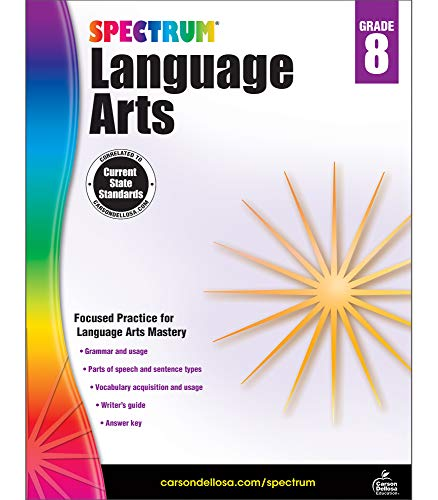 Carson Dellosa - Spectrum Language Arts, Focused Practice for Language Arts Mastery for 8th Grade, 160 Pages, Ages 13-14 with Answer Key