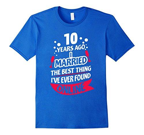 Mens 10 Years Marriage Anniversary Gift Idea T-Shirt 2XL Royal Blue