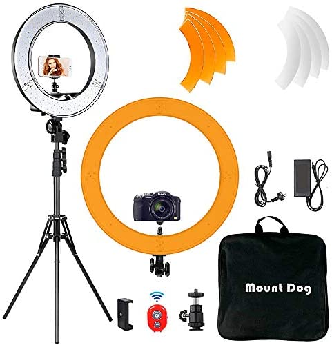 18 inch Ring Light MOUNTDOG Upgraded Bluetooth LED Ring Light with Tripod Stand and Phone Holder Dimmable 55W 3200K/5500K Circle Lighting for YouTube TikTok Makeup Video Photography Blogging Portrait