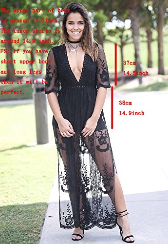 Jual Wicky LS Women s Sexy Short Sleeve Long Dress Low V-Neck Lace ... 2e5fc50e7