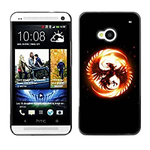LECELL -- Funda protectora / Cubierta / Piel For HTC One M7 -- Flaming Phoenix --