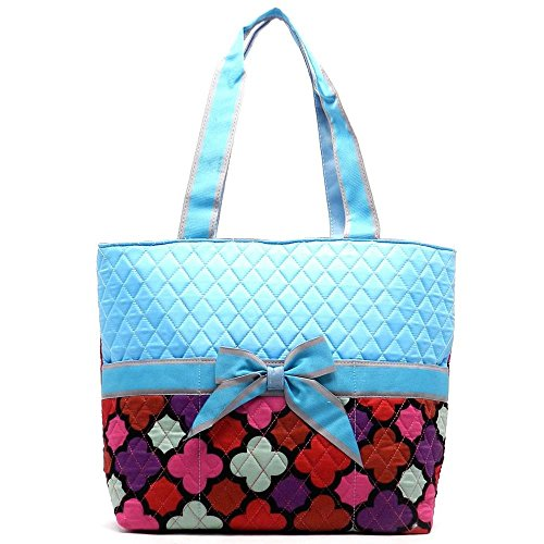 Quilted Quatrefoil Diaper Bag Changing Pad Purse Set Multicolor Turquoise Blue