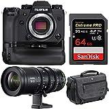 Fujifilm X-H1 4K Mirrorless Camera Body w/Vertical Booster Grip & MKX 18-55mm T2.9 Cine Lens Bundle