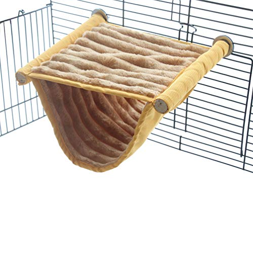 Emours Double Bunkbed Hammock Sleep Bed Cage Play Platform with Warm Fleece for Hamster Mice