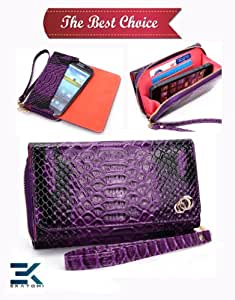 PU Leather Women's Wallet Wristlet Clutch Universal Phone Bag compatible with Samsung Galaxy Music Duos S6012 Case - BLACK & PURPLE CROC