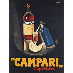 "CAMPARI L'APERITIVO ALCOHOLIC LIQUEUR BITTER RED TRAY SPARKLING WATER ITALIAN DRINK 12"" X 16"" VINTAGE POSTER REPRO"