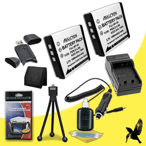 Two Halcyon 1400 mAH Lithium Ion Replacement NP-50 Battery and Charger Kit + Memory Card Wallet + SDHC Card USB Reader + Deluxe Starter Kit for Fujifilm FinePix F770EXR Digital Camera and Fujifilm NP-50 by Halcyon