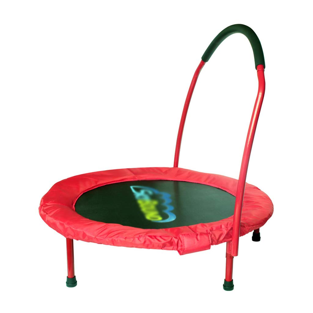 Gartentrampoline Trampolin Kinderhaushalts-Trampolin Innentrampolin Kindertrampolin Trampolin mit Armlehnen klappbares Sprungbett (Farbe : ROT, Größe : 91  91  22cm)
