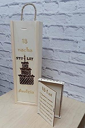 Caja de vino caja de + con un grabado personalizado regalo cumpleaños Set: Amazon.es: Hogar