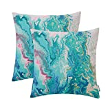 HWY 50 Soft Decorative Throw Pillow Covers Sets Cushion Cases for Couch Sofa Bed Living Room Thicken Cotton Linen Printed European Design Abstract Colorful 18 x 18 Inches Pack of 2