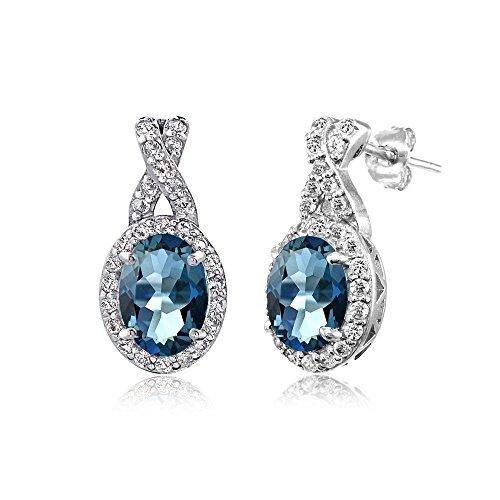 Blue Oval Drop Earrings - Sterling Silver London Blue & White Topaz X and Oval Drop Earrings