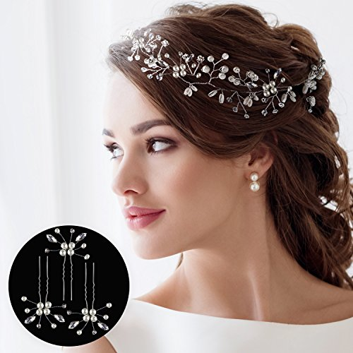 HANDMADE HAIR ACCESSORIES FOR WEDDING + 3 BONUS FLOWER WEDDING HAIR PINS - WEDDING HAIR ACCESSORIES FOR BRIDES - BRIDAL HEADBAND FOR LONG OR SHORT HAIR - CRYSTAL PEARL SILVER HAIR VINE - HAIR JEWELRY