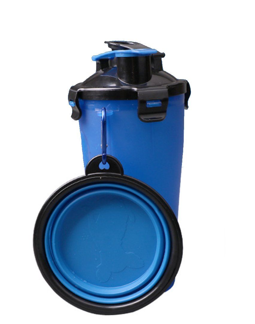 s-lifeeling Pet Dog Outdoor Travel Portable Cup Multifunction 2 In 1 Dog Drinking Water Bottle Dual-Purpose Dog Storage Tank Foldable Bowl Kettle