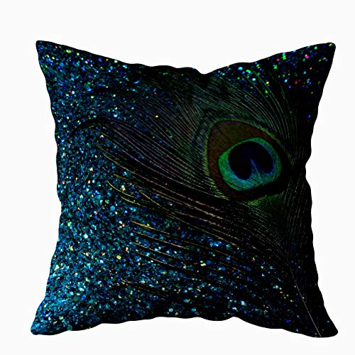 - Shorping Zippered Pillow Covers Pillowcases 16X16 Inch glittery aqua blue peacock round pillow Decorative Throw Pillow Cover ,Pillow Cases Cushion Cover for Home Sofa Bedding