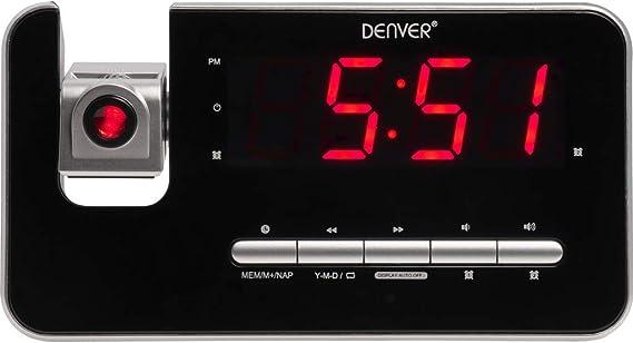 marr/ón 0 cm, Bluetooh, AUX-In Despertador, Radio FM PLL, Pantalla de 1,5 cm DENVER CRB-619 Radio Despertador