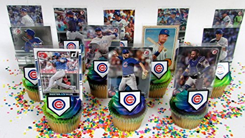 Chicago CUBS Baseball Team Themed Birthday Cupcake Topper Set Featuring Cubs Player Baseball Cards and Themed Accessories ()