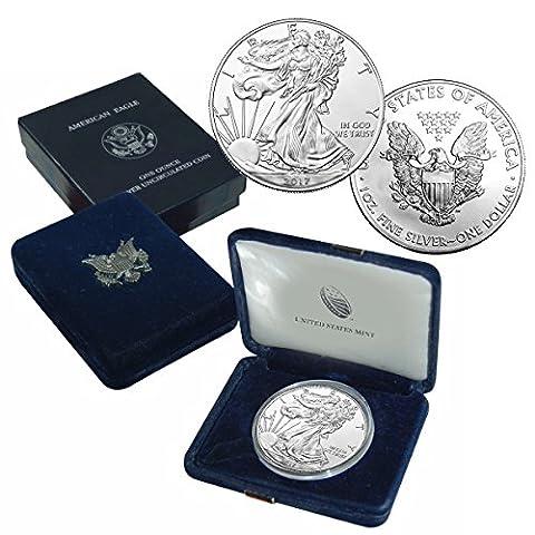2017 American Silver Eagle $1 Brilliant Uncirculated US Mint Box - Dollar Coin
