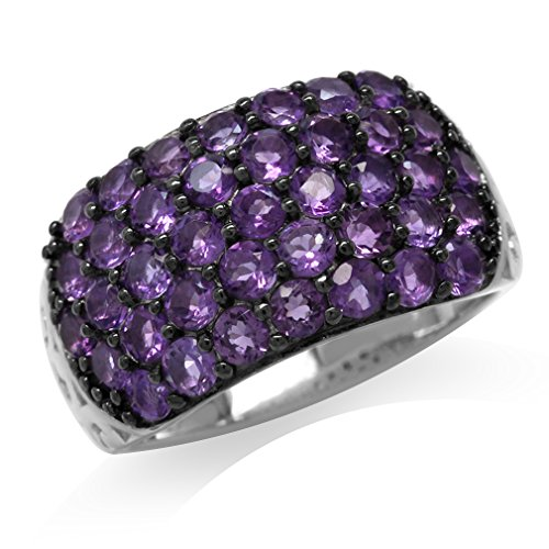 2.34ct. Natural African Amethyst 925 Sterling Silver Vintage Style Cluster Ring Size 10 ()