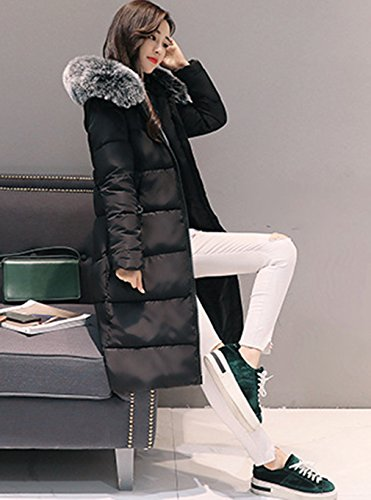capucha COMVIP Manga con acolchada caliente Mujeres Negro larga chaqueta de la invierno Outwear ZxIrZqpf