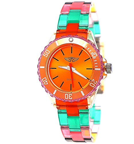 Cool NY London Rainbow Plastic Watch Colorful Plastic Ladies Bracelet Watch Boys Girls Wrist Watch Orange Red Green Blue Yellow Including Watch Box and Bracelet Shorter