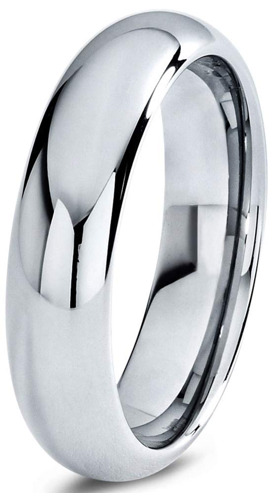 Charming Jewelers Tungsten Wedding Band Ring Grey 6mm Men Women Comfort Fit Dome Polished Size 8