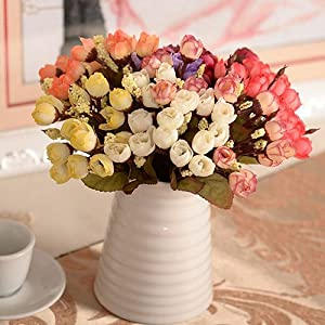 BYyushop Sweet Artificial Rosebud Bouquet Home Wedding Cloth Rose 15 Flowers on 1 Piece - White 2