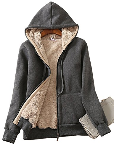 (Yeokou Women's Casual Full Zip Up Sherpa Lined Hoodie Sweatshirt Jacket Coat (X-Large, Dark Grey))