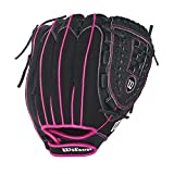 Wilson Flash Baseball Gloves, Black/Hot Pink, 11