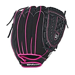 "Wilson Flash Baseball Gloves, Blackhot Pink, 11"", Right Hand Throw"