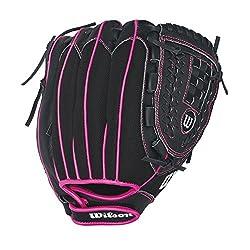 "Wilson Flash Baseball Gloves, Blackhot Pink, 11"", Right Hand Throw"