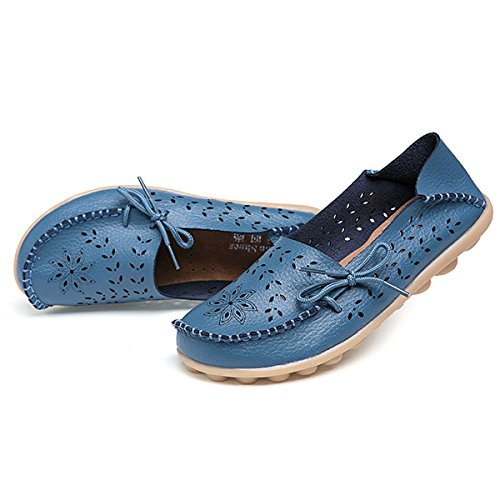 fisca Lady Pebbled Leather Drivers Casual Flat Loafer Shoes With Breathable Hole Blue gmTzLW1V77