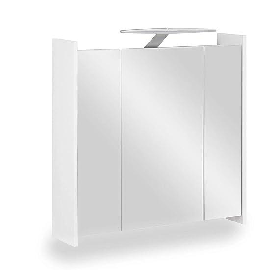 Galdem Elegance Spiegelschrank 70cm Badezimmerschrank Wandschrank Badmöbel 3 Spiegeltüren 6 Einlegeböden LED Beleuchtung mit