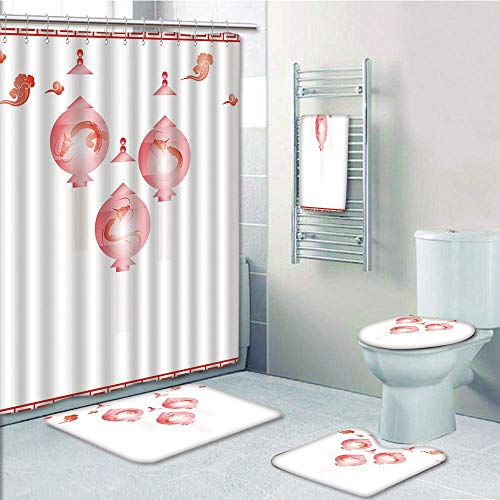 (Bathroom 5 Piece Set Shower Curtain 3D Print Customized,Lantern,Traditional Asian Mid Autumn Festival Pattern with Abstract Shapes in Red Coloring Decorative,White Red,Graph Customization)