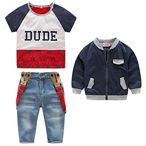3pcs Kids Boys T-shirt Zipper Coat Denim Suspender Pensts Clothes Set - 1