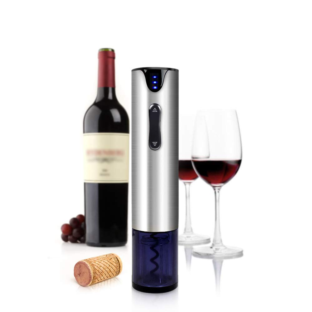 Electric Wine Opener with Foil Cutter Automatic Corkscrew and Foil Remover Stainless Steel One Touch Wine Bottle Opener Perfect Gift for Any Wine Lover (Stainless Steel Electric Wine Opener) by YonRui (Image #1)