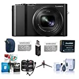 Panasonic Lumix DMC-ZS100 Digital Camera, 20.1MP, Black - Bundle with 2x 32GB Class 10 U3 SDHC Card, Camera Case, Spare Battery, Cleaning Kit, Memory Wallet, Tripod, Card Reader, Software Package