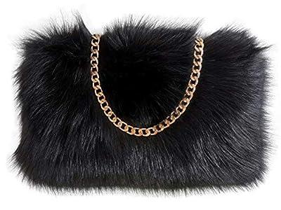 FHQHTH Faux Fur Purse Fuzzy Shoulder Bags for Women Evening Handbags Al alloy Shoulder Strap