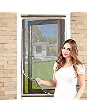 Adjustable DIY Magnetic Window Screen Fits Any Size Smaller DIY Easy Installation (White)