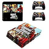 MightyStickers - GTA 5 Grand Theft Auto V Gang Attack PS4 Pro Console Wrap Cover Skins Vinyl Sticker Decal Protective for Sony PlayStation 4 Pro + 2 Controller