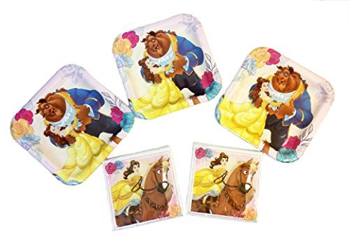 Disney Princess Belle Beauty and The Beast Party Pack. Contains 24 Plates, 32 Party Beverage Napkins. Bundle of 5. -