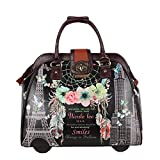 Nicole Lee Women's Stylish Black Print Bag, Rolling Wheels, Laptop Compartment Travel Tote, Dream Comes True, One Size