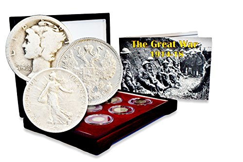 1914 WW I The Great War: 1914-18, A Collection of Six Silver Coins Set In Beautiful Box With Story Card And Certificate Good