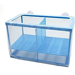 uxcell Betta Tank Aquarium Fish Separation Frame Net Fry Hatchery Breeder Box Blue