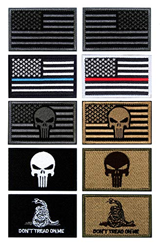 10 PCS Tactical Patches of USA US American Flag Punisher Don't Tread On Me Skull, with Hook and Loop for Backpacks Caps Hats Jackets Pants, Military Army Uniform Emblems, Size 3x2 Inches