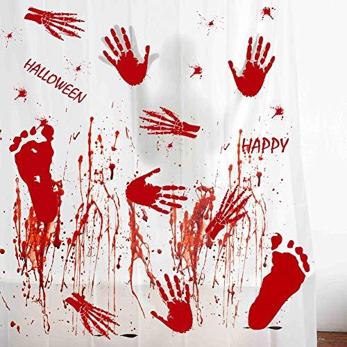 Aparty4u 60pcs Handprint Footprint Halloween Bloody Window Clings Decals Stickers Scary Halloween Decorations