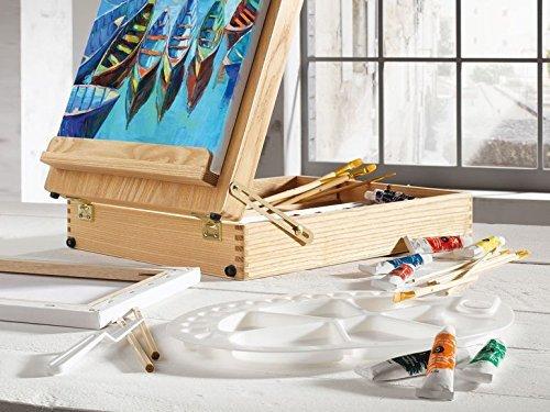 crelando Valigetta di Pittura Kit con Cavalletto da Tavolo Integrato + Pittura + pennelli + Tele + Colori di Legno con 50 Accessori owim GMBH