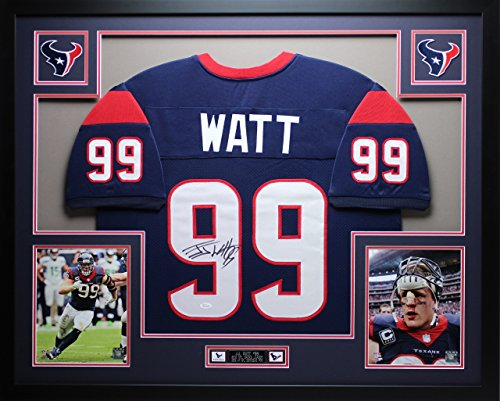 Autographed Signed Framed (JJ Watt Autographed Signed and Framed Blue Texans Jersey Auto JSA COA (Free)